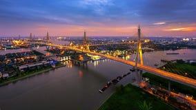 King Bhumibol Bridge, Bridge Of Father, Bangkok,Thailand. Shoot from the top of building stock images