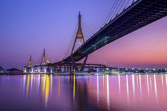 King Bhumibol Bridge, Bridge Of Father. Shoot from the river side under the bridge stock photography