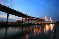 King Bhumibol bridge at twilight in Bangkok Stock Photography