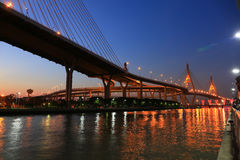 King Bhumibol, industrial ring road, bridge at twilight in Bangk Stock Photos