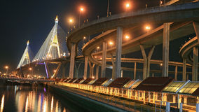 King Bhumibol Mega Bridge at night Stock Images