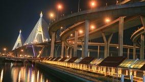 King Bhumibol Mega Bridge at night Stock Images