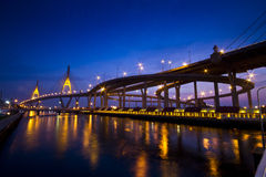 King Bhumiphol Bridge. With twilght view Stock Images