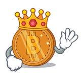 King bitcoin coin character cartoon. Vector illustration Stock Images