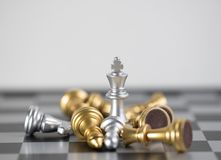 King blond victory for game. Chess board is the intelligence strategy game to make ideas for business and marketing concept, the success ideas is drive the royalty free stock photography