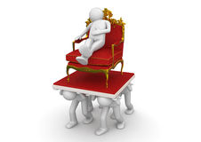 King (boss) on throne and slaves Royalty Free Stock Photos