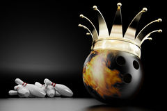 King of bowling. 3d render of the bowling ball king Stock Photography