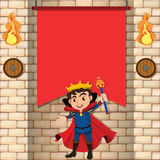 King and brickwall background Stock Photos
