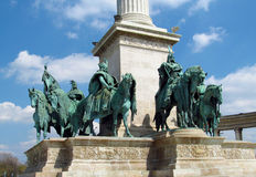 King bronze statue on Heroes Square in Budapesht, Hungary stock photos