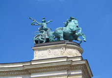 King bronze statue on Heroes Square in Budapesht, Hungary Stock Image