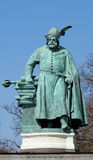 King bronze statue on Heroes Square in Budapesht, Hungary Royalty Free Stock Image