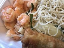King Buffet Shimp and Rice Noodles. With Egg Roll stock photos