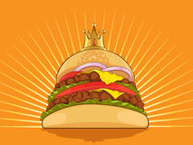 King Burger. A vector image of a big burger wearing a kings golden crown. Good for food-related application, such as menu and brochure. Available as a Vector in Royalty Free Stock Image