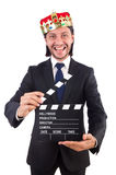 King businessman in funny concept isolated Royalty Free Stock Photo