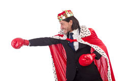 King businessman in funny concept isolated Royalty Free Stock Photography