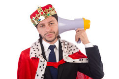 King businessman in funny concept isolated Stock Images