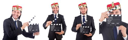The king businessman in funny concept isolated on white Royalty Free Stock Photography