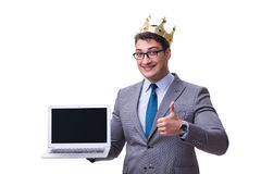 The king businessman holding a laptop isolated on white background. King businessman holding a laptop isolated on white background Royalty Free Stock Photography