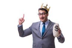 The king businessman holding money bag isolated on white background Stock Photography