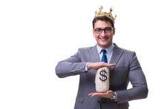 The king businessman holding money bag isolated on white background Stock Images