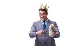 The king businessman holding money bag isolated on white background Royalty Free Stock Photos