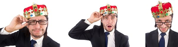 The king businessman isolated on the white Royalty Free Stock Photography