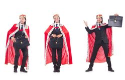 The king businessman isolated on white Royalty Free Stock Photography
