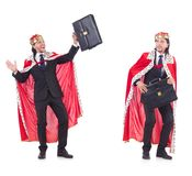 The king businessman isolated on white Royalty Free Stock Photo
