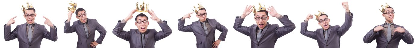 The king businessman isolated on white Stock Photo