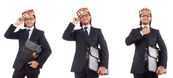 The king businessman isolated on the white Stock Photography