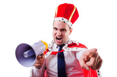 King businessman with loudspeaker Royalty Free Stock Photo