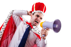 King businessman with loudspeaker Royalty Free Stock Image