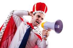 King businessman with loudspeaker Royalty Free Stock Image