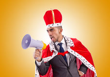 King businessman with loudspeaker isolated on Stock Photography
