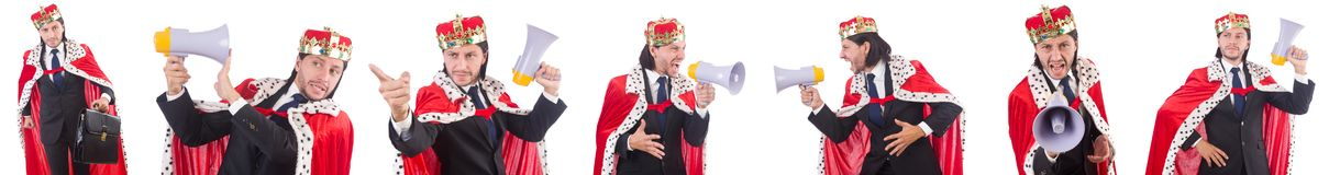 The king businessman with loudspeaker isolated on white Royalty Free Stock Photography