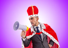 King businessman with loudspeaker  on Royalty Free Stock Photos