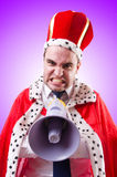 King businessman with loudspeaker  on Royalty Free Stock Photo