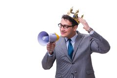 The king businessman with a megaphone isolated on white background Stock Photo