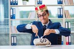 The king businessman with money sack in office. King businessman with money sack in office stock image