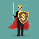 King businessman with shield and sword Stock Photo