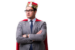 The king businessman wearing red cover on white Stock Images