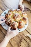 King Cake or King Bread, called in German language Dreikönigskuchen, baked in Switzerland on January 6th. royalty free stock images
