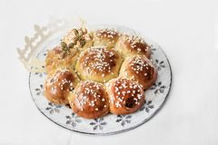 King Cake or King Bread, called in German language Dreikönigskuchen, baked in Switzerland on January 6th. royalty free stock photography