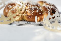 King Cake or King Bread, called in German language Dreikönigskuchen, baked in Switzerland on January 6th. stock photo
