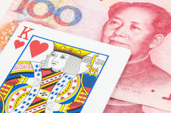 King card on the Chinese Yuan, Money is King Royalty Free Stock Images