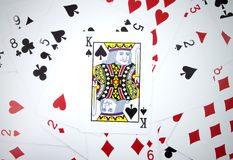 King card with playing cards Stock Photos