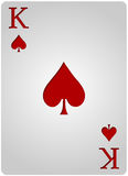 King card spades poker. Vector king spades card poker with red letters and white card for casino poker Stock Photo