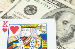 King card on the US dollar, Money is King Stock Photography