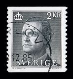 King Carl XVI Gustaf, serie, circa 1985. MOSCOW, RUSSIA - MAY 10, 2018: A stamp printed in Sweden shows King Carl XVI Gustaf, serie, circa 1985 Stock Photography