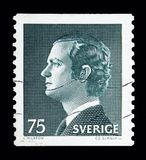 King Carl XVI Gustaf, serie, circa 1974. MOSCOW, RUSSIA - MAY 10, 2018: A stamp printed in Sweden shows King Carl XVI Gustaf, serie, circa 1974 Stock Image